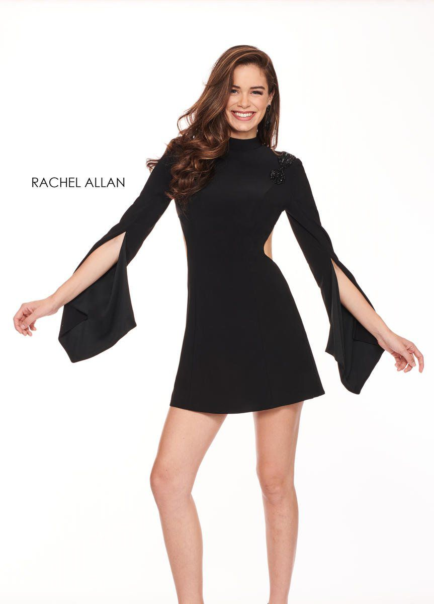 Style L1219 Rachel Allan Black Size 4 Interview Jersey Backless Tall Height Cocktail Dress on Queenly