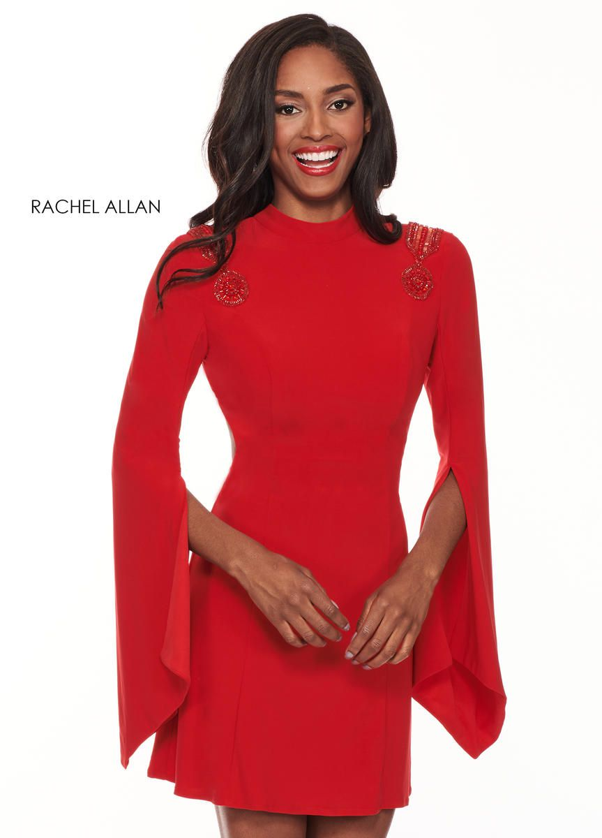 Style L1219 Rachel Allan Red Size 4 Interview Jersey Tall Height Cocktail Dress on Queenly