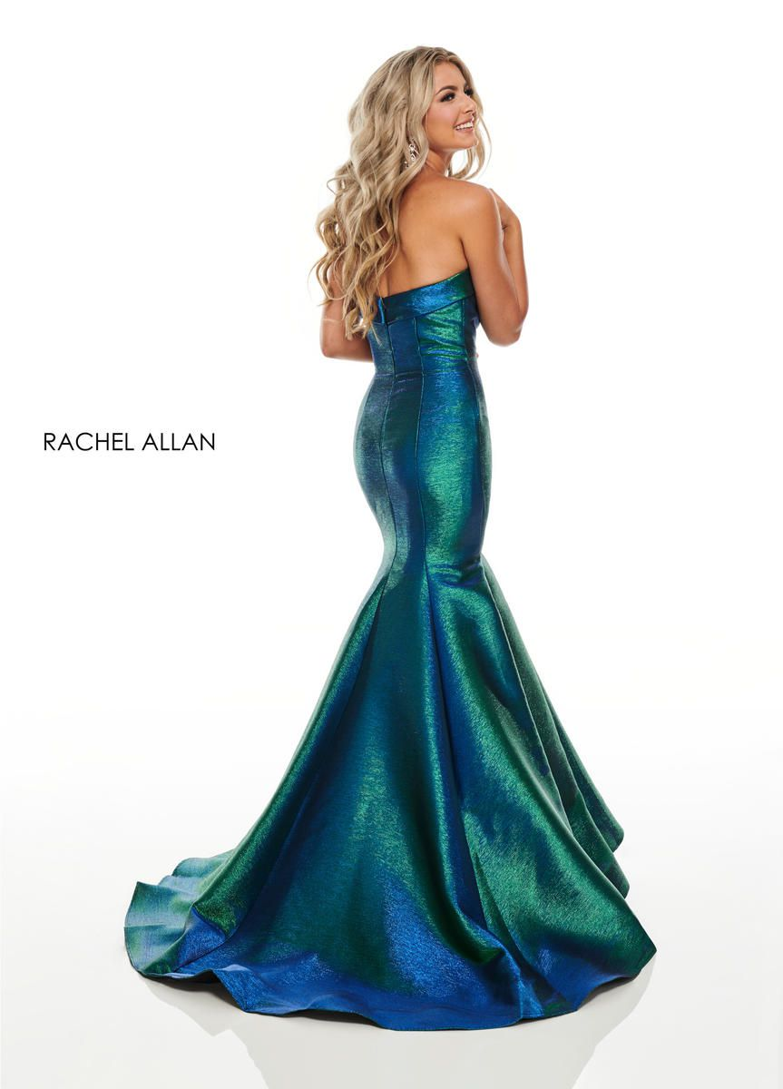 Style 7176 Rachel Allan Blue Size 4 Mint Tall Height Light Green Mermaid Dress on Queenly