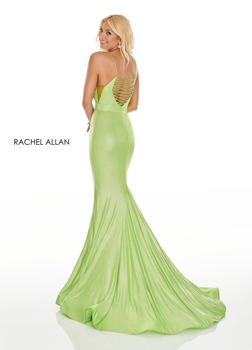 Style 7118 Rachel Allan Light Green Size 0 Mint Tall Height Spaghetti Strap Mermaid Dress on Queenly