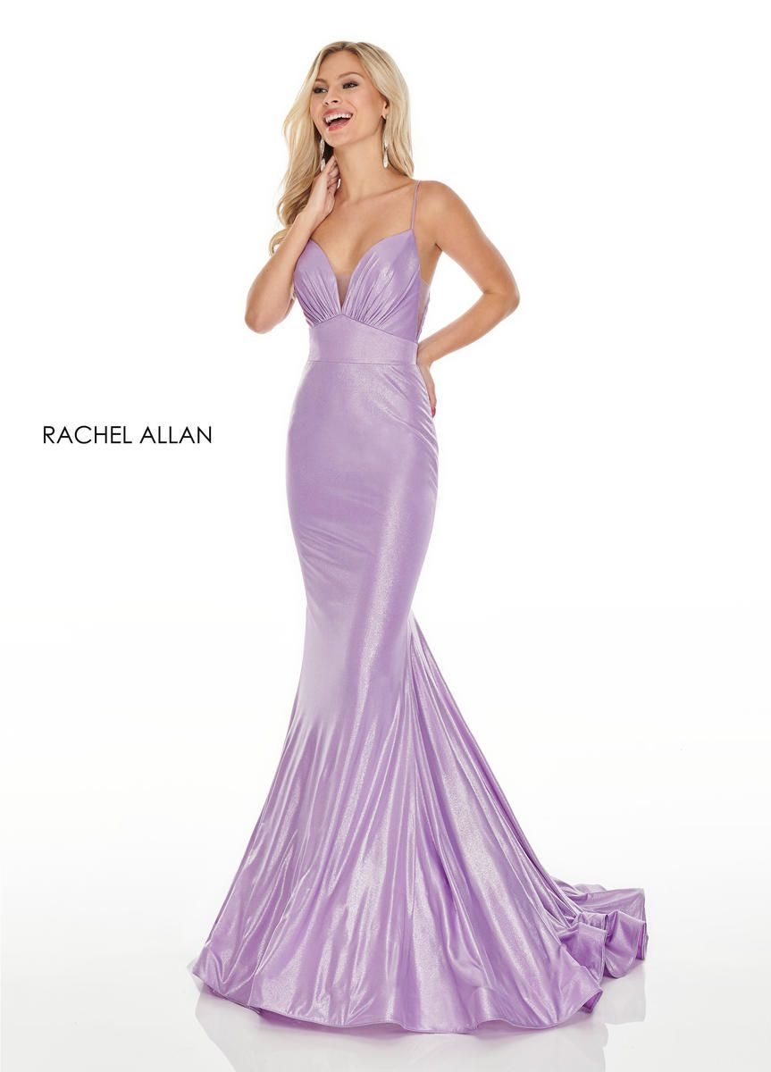 Style 7118 Rachel Allan Purple Size 2 Pageant Train Tall Height Shiny Mermaid Dress on Queenly