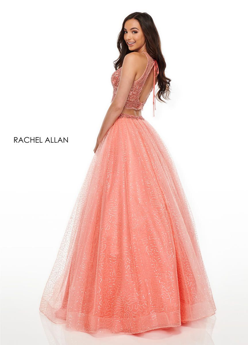 Style 7025 Rachel Allan Orange Size 0 Sheer Tall Height Tulle Halter Ball gown on Queenly