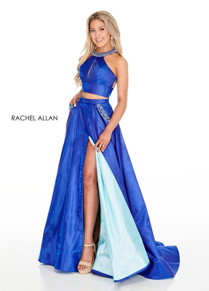 Style 7009 Rachel Allan Blue Size 12 Cut Out Shiny Tall Height Side slit Dress on Queenly