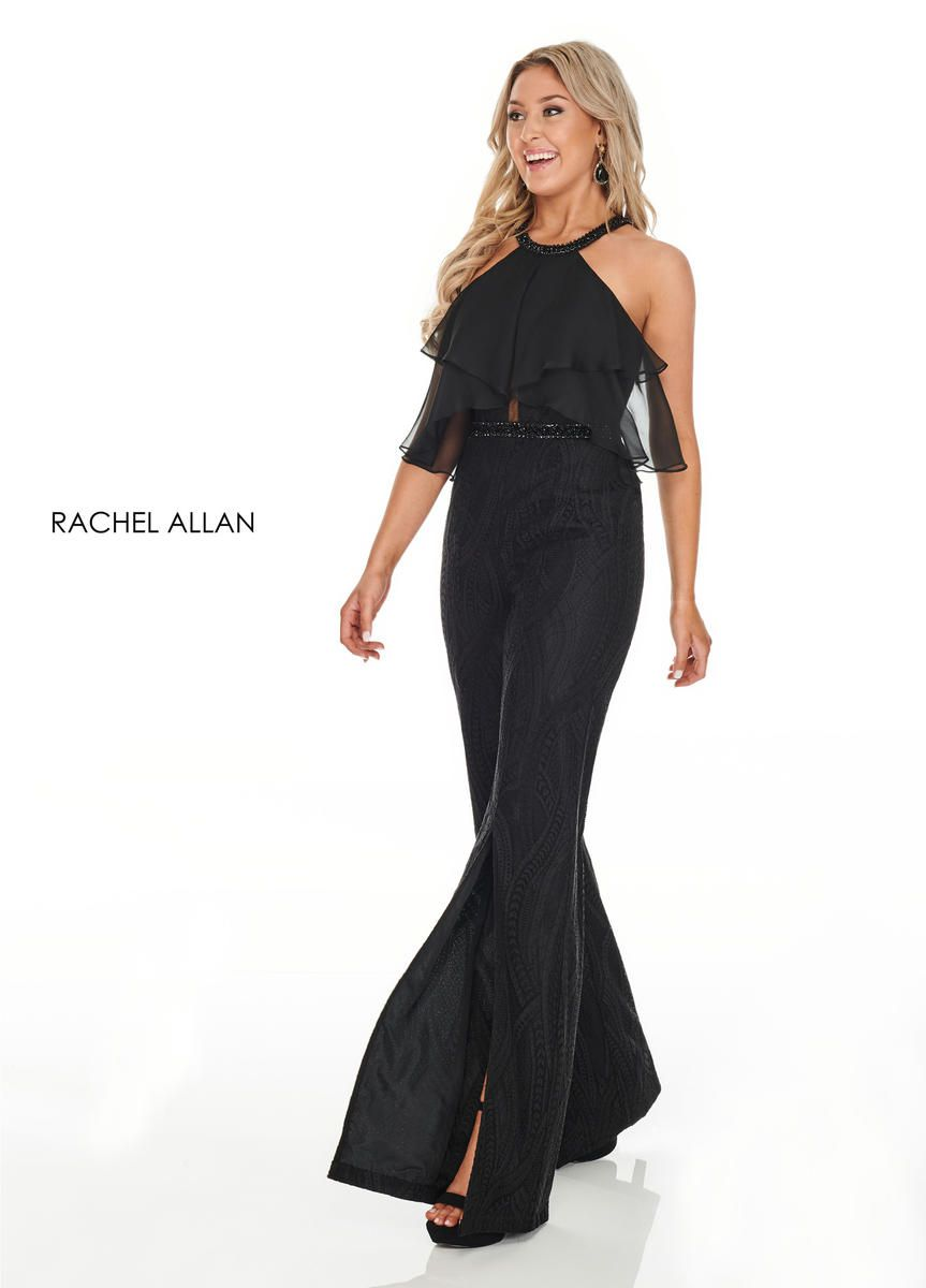 Style L1265 Rachel Allan Black Size 10 Sorority Formal Tall Height Fun Fashion Halter Flare Jumpsuit Dress on Queenly