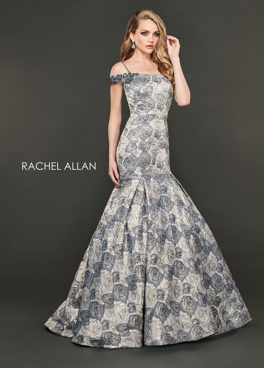 Style 8401 Rachel Allan Gold Size 0 Ruffles Multicolor Pageant Shiny Mermaid Dress on Queenly