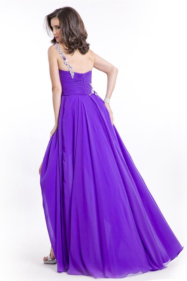 Style 6546 Rachel Allan Purple Size 6 A-line Dress on Queenly