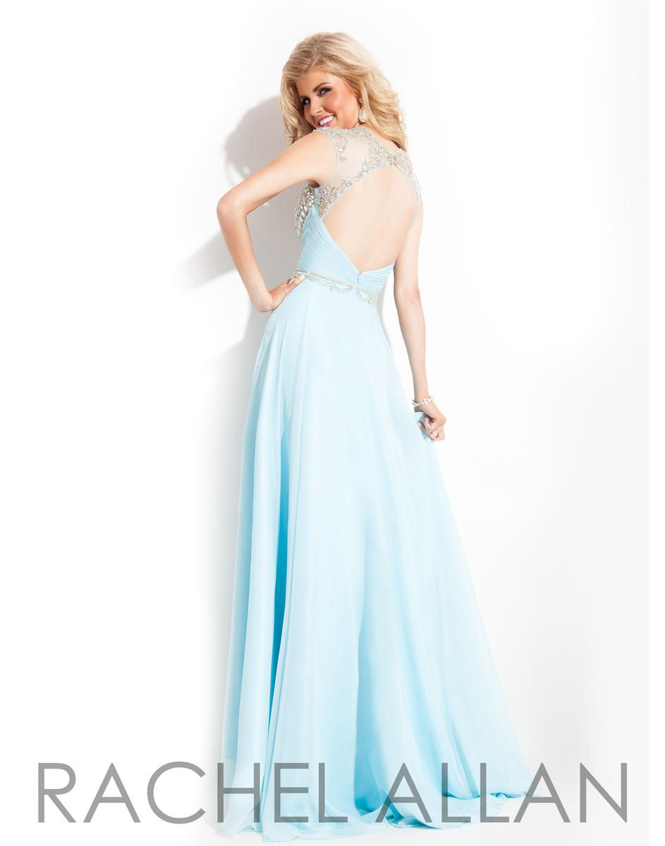 Style 6816 Rachel Allan Blue Size 4 Winter Formal Sheer Tall Height Tulle A-line Dress on Queenly