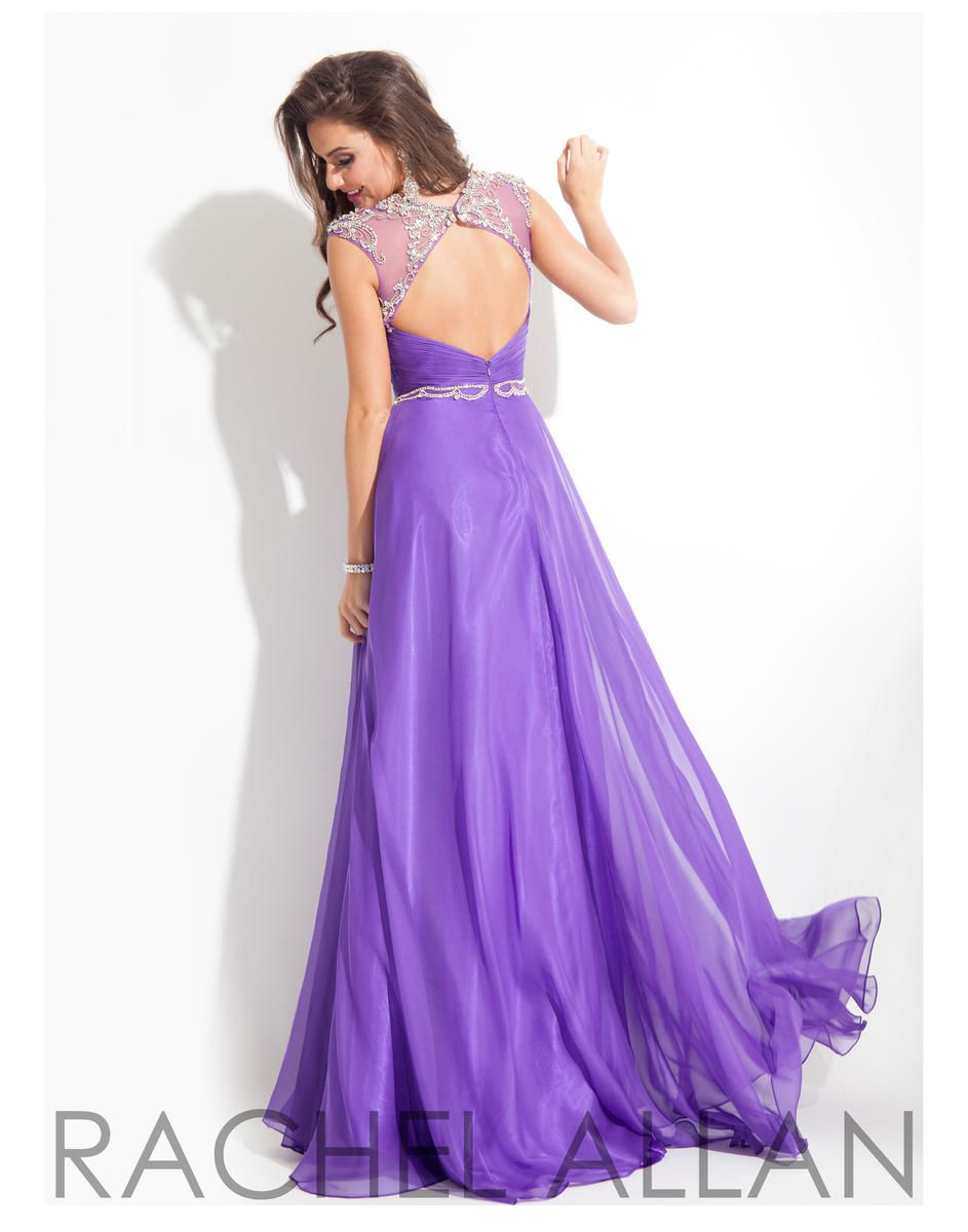 Style 6816 Rachel Allan Purple Size 12 Prom Pageant Tulle Tall Height A-line Dress on Queenly