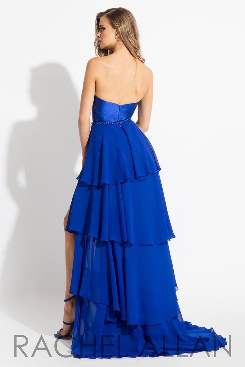Style 7626 Rachel Allan Blue Size 4 Ruffles Belt Tulle Tall Height Jumpsuit Dress on Queenly