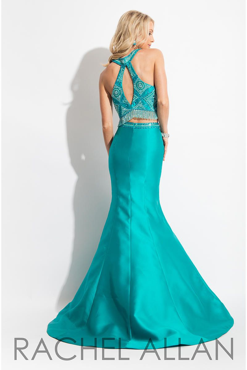 Style 7557 Rachel Allan Green Size 12 Pageant Beaded Top Tall Height Halter Mermaid Dress on Queenly