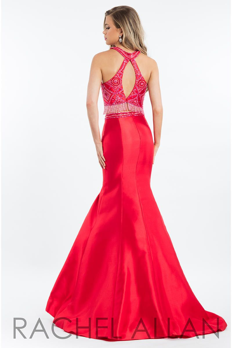 Style 7557 Rachel Allan Red Size 6 Tall Height Halter Mermaid Dress on Queenly