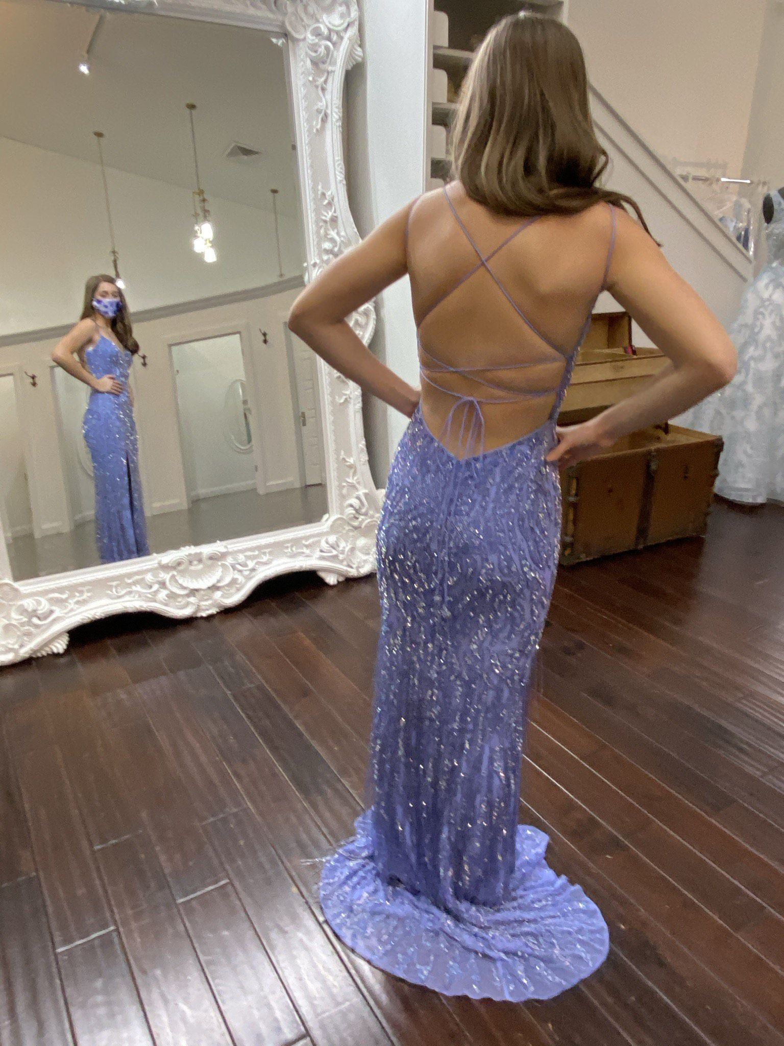 Sherri Hill Blue Size 0 Prom Pageant Sweetheart Train Fully-beaded Side slit Dress on Queenly