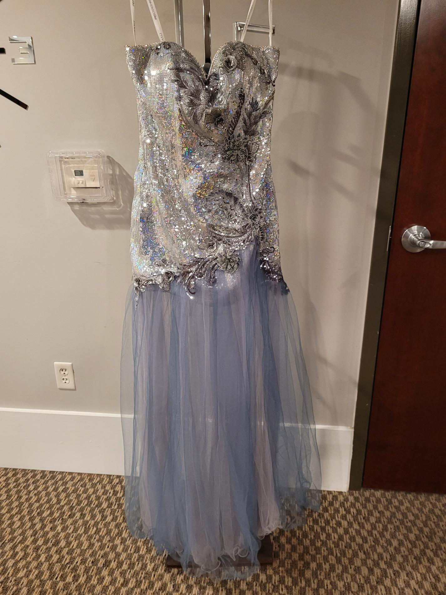Style  P55250 Precious Formals Silver Size 6 Shiny Sheer Tall Height Cocktail Dress on Queenly