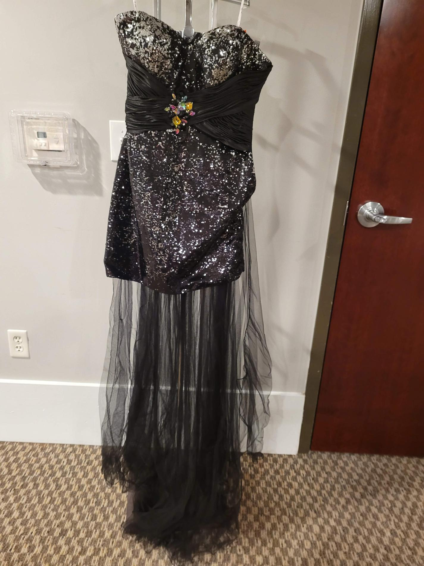 Style L44316 Precious Formals Black Size 6 Homecoming Sheer Tall Height Tulle Cocktail Dress on Queenly