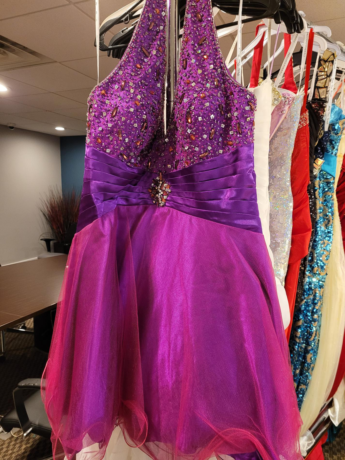 Style 6826 PartyTime Formals/Rachel Allan Purple Size 16 Beaded Top Tulle Tall Height Cocktail Dress on Queenly