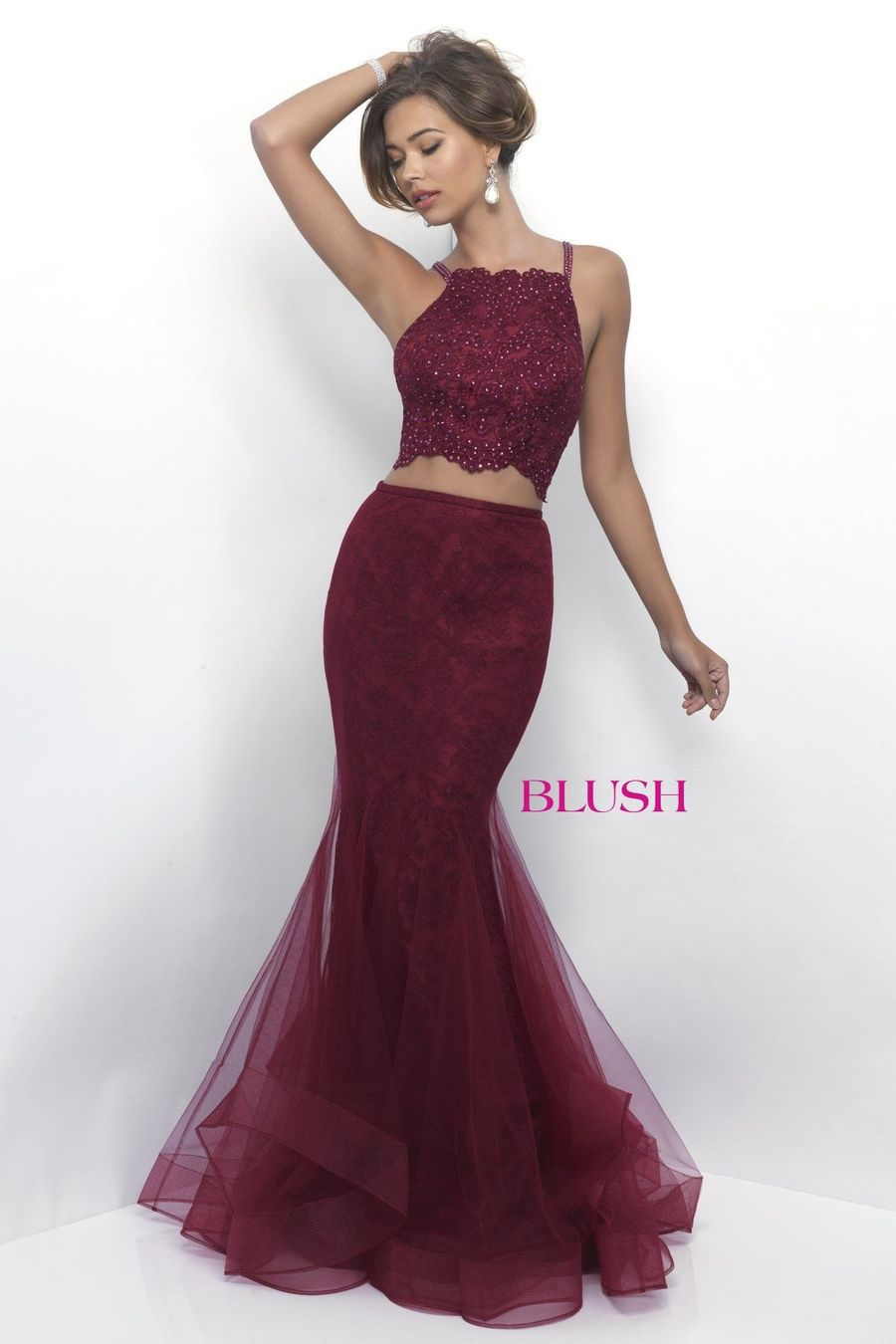 Style 11224 Blush Prom  Red Size 2 Tall Height Tulle Sequin Mermaid Dress on Queenly