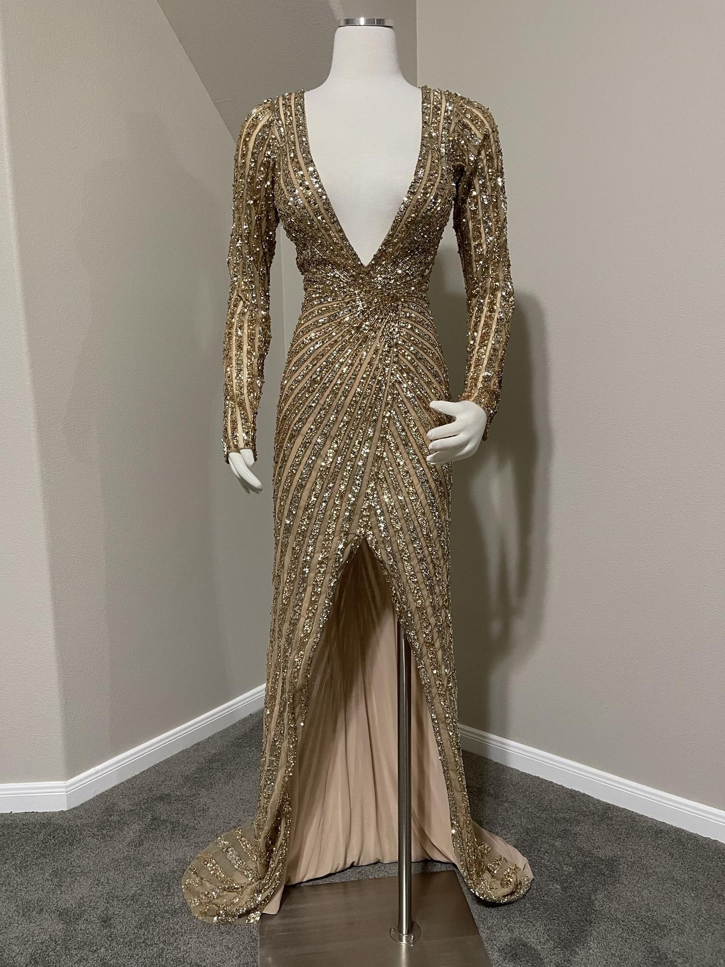 Sherri Hill Gold Size 6 Prom Pageant Train Long Sleeve Straight Dress on Queenly