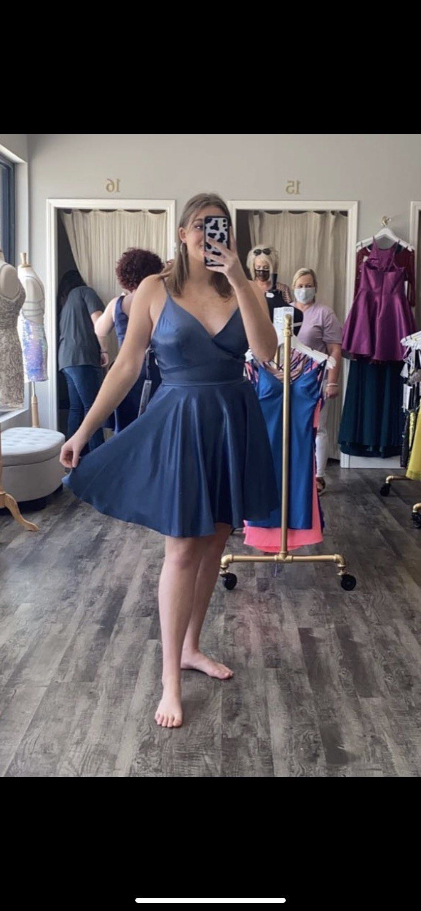 Alyce Paris Blue Size 12 Homecoming Sorority Formal Plunge Spaghetti Strap Flare A-line Dress on Queenly
