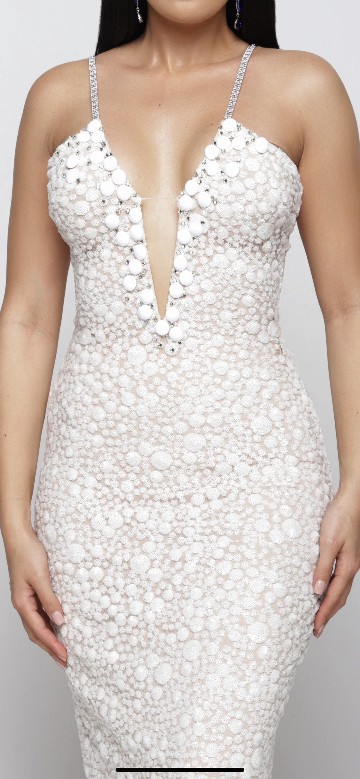 Fernando Wong White Size 2 Fully-beaded Tall Height Straight Dress on Queenly