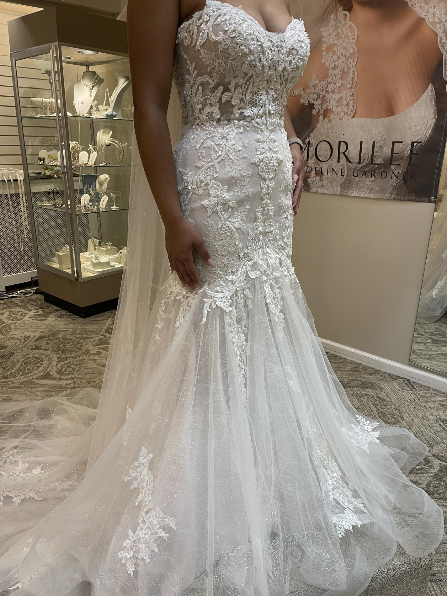 Maggie Sottero White Size 10 Train Beaded Top Tulle Mermaid Dress on Queenly