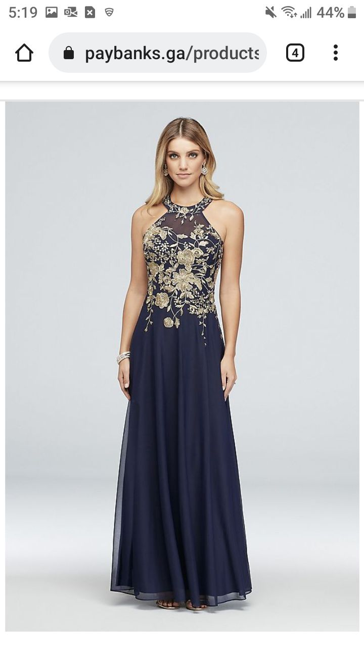 CACHET  Blue Size 10 Sequin Prom Beaded Top Gold Ball gown on Queenly