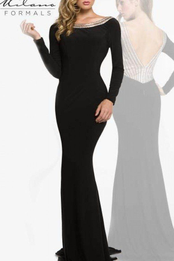 Milano Formals  Black Size 6 Long Sleeve Boat Neck Straight Dress on Queenly