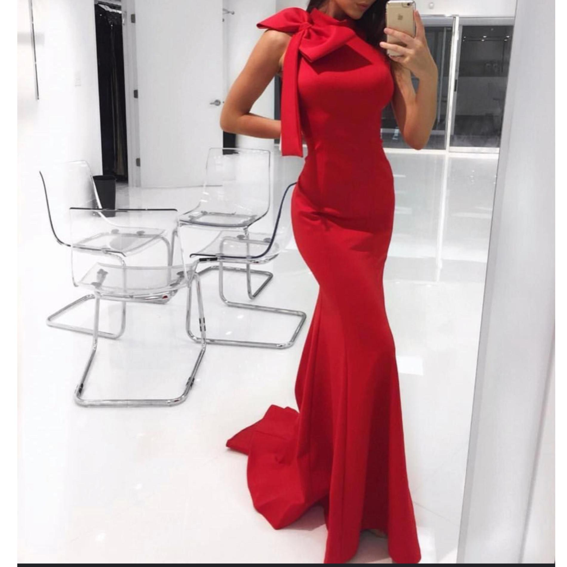 Jovani Red Size 4 Prom Fitted Train Silk Mermaid Dress on Queenly