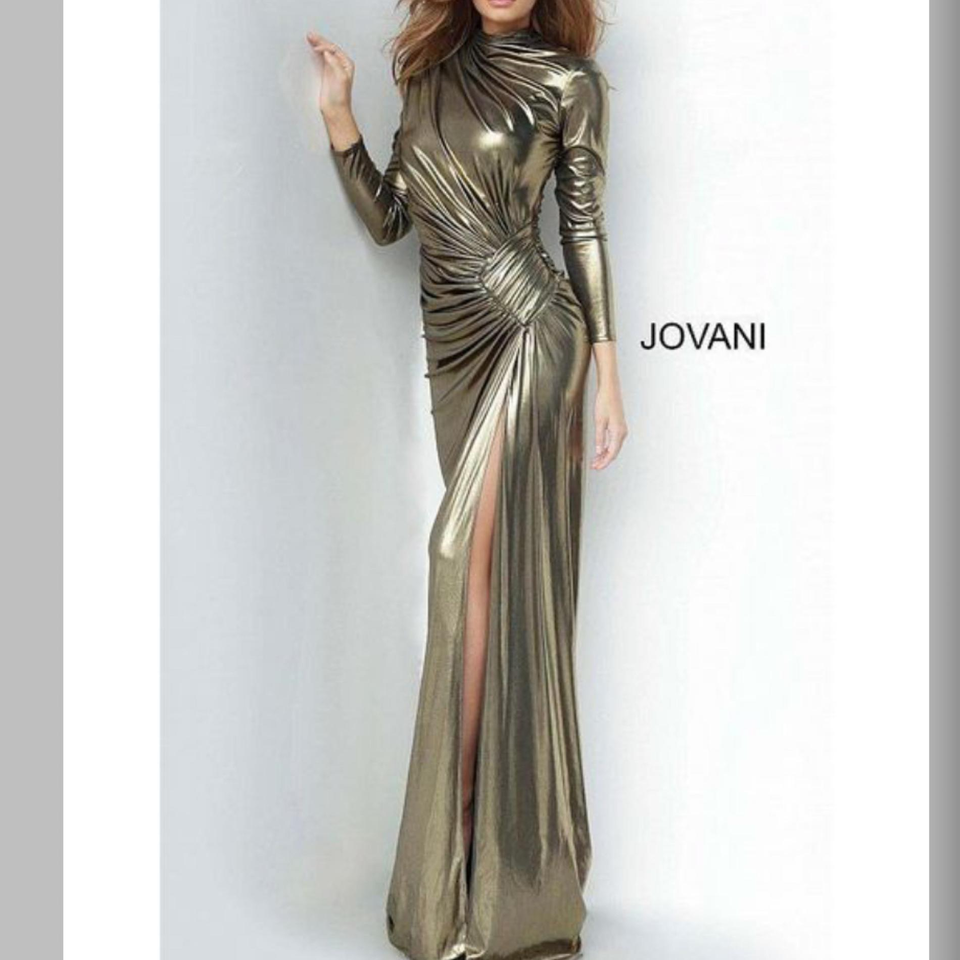 Jovani Gold Size 0 Sleeves Mini Jersey Pageant Shiny Mermaid Dress on Queenly