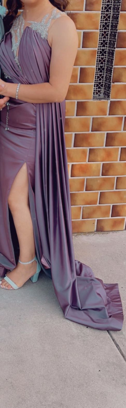 Custom Made Light Purple Size 6 Cape Jewelled Sheer Mermaid Dress on Queenly