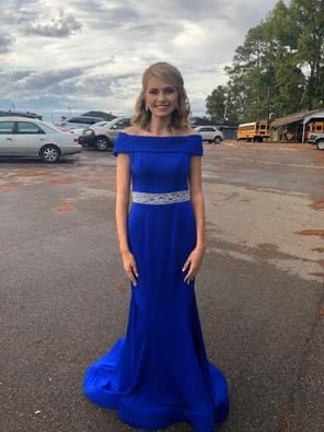 Ashley Lauren Blue Size 4 Pageant Sequin Train Silk Straight Dress on Queenly