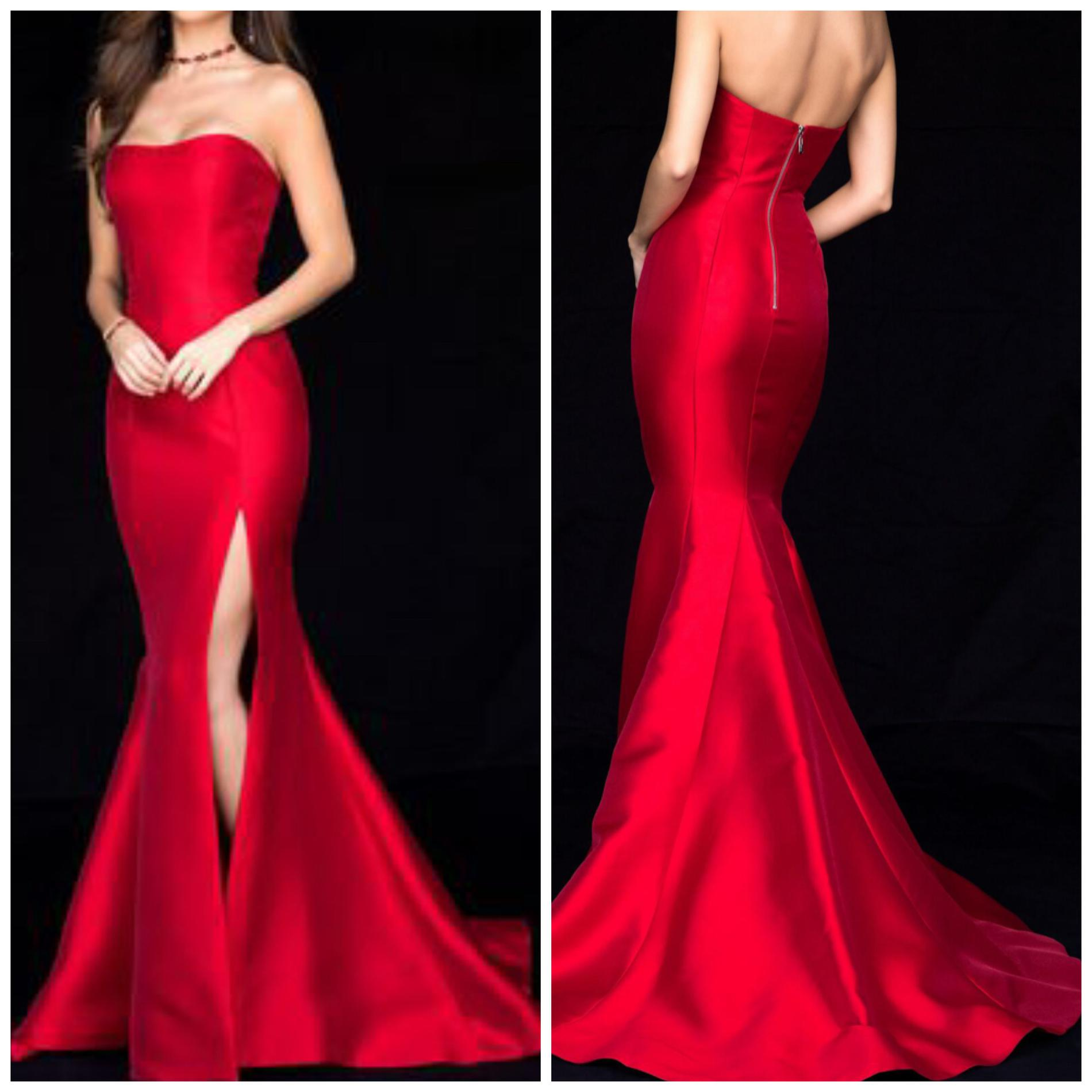 Sherri Hill Red Size 8 Pageant Train Sweetheart Silk Mermaid Dress on Queenly
