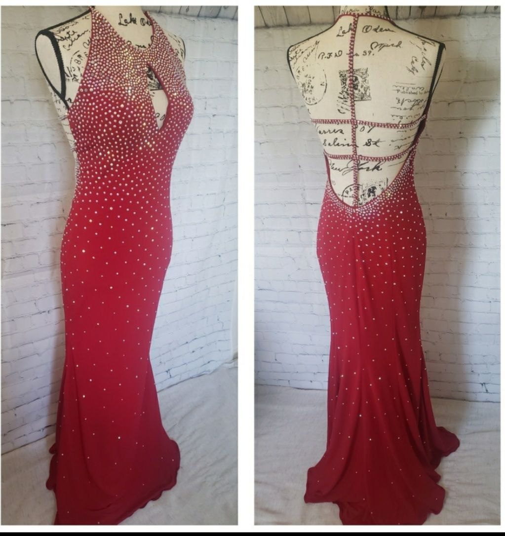 Jovani Red Size 6 Prom Backless Beaded Top Halter Ball gown on Queenly