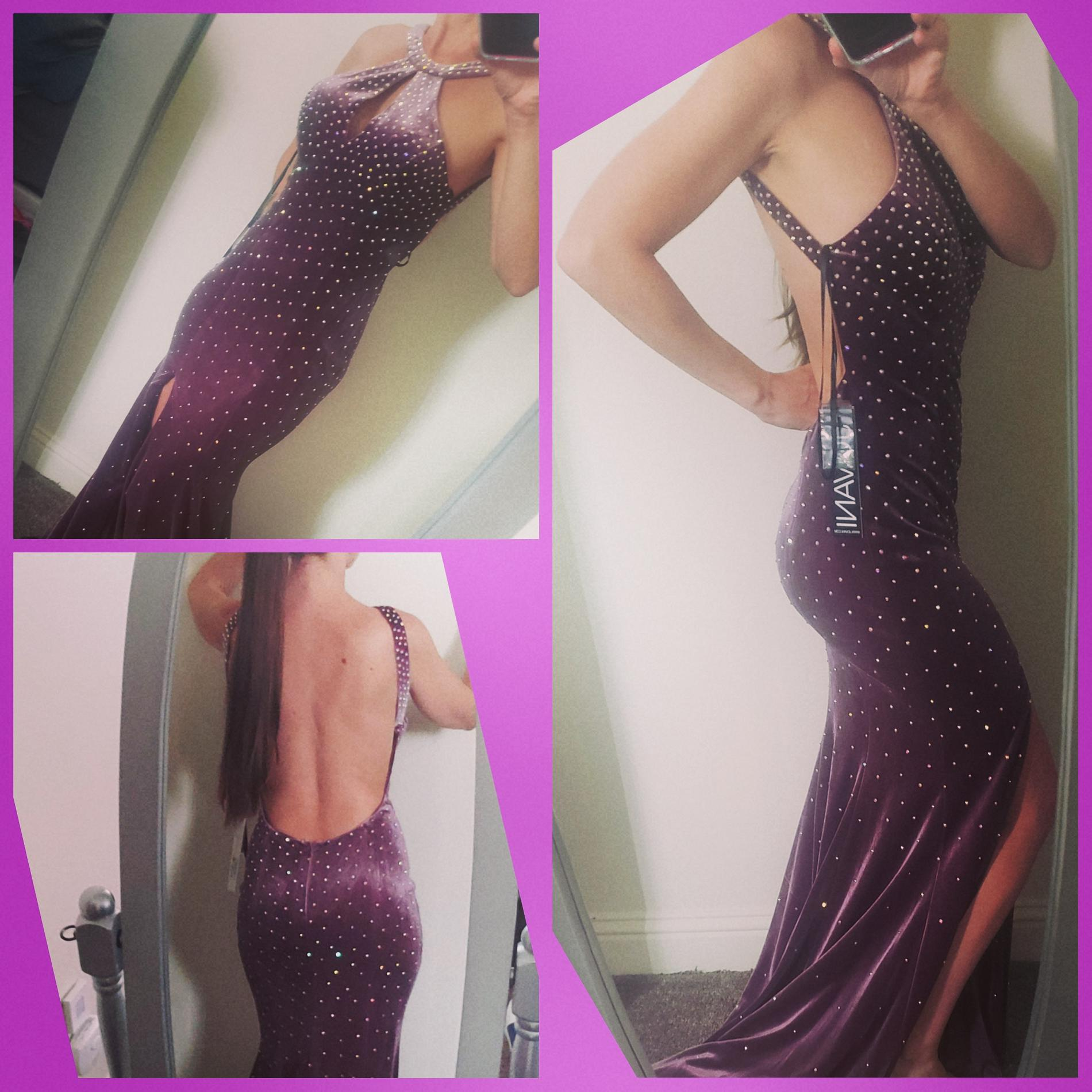 Jovani Purple Size 2 Beaded Top Train Mermaid Halter Ball gown on Queenly