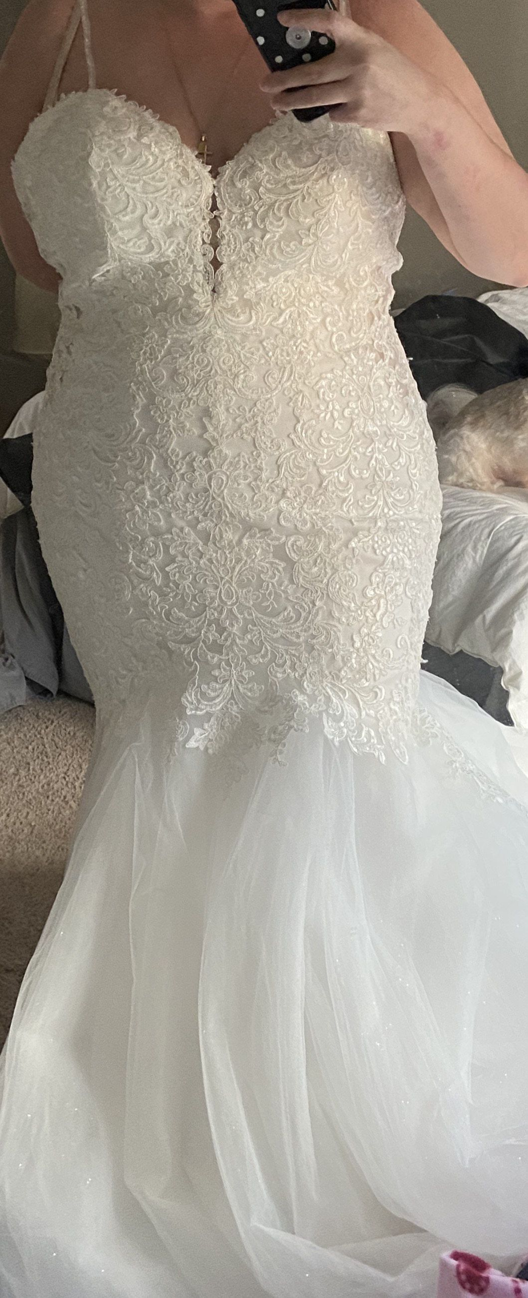 Mori Lee White Size 20 Sweetheart Tulle Mermaid Dress on Queenly