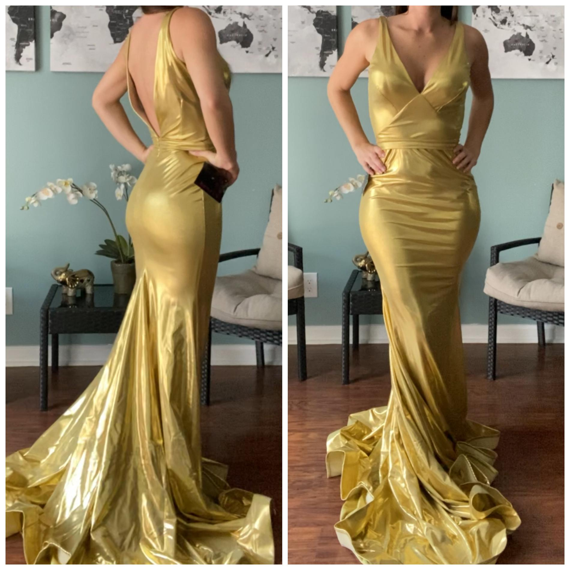 Jessica Angel Gold Size 2 Pageant V Neck Train Mermaid Dress on Queenly