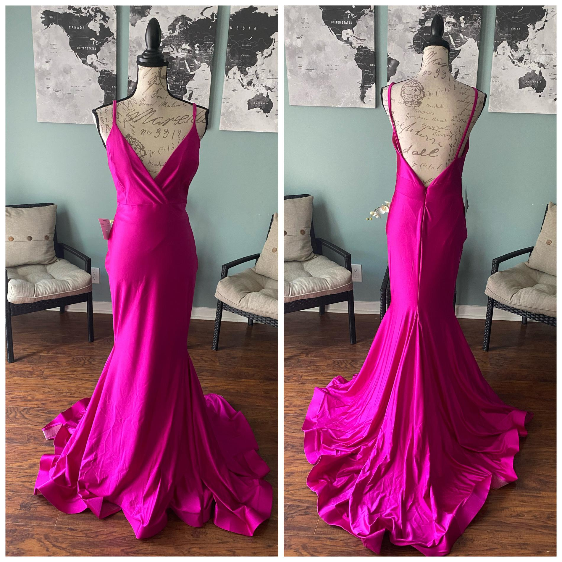 Jessica Angel Pink Size 8 Backless Pageant Train Silk Mermaid Dress on Queenly