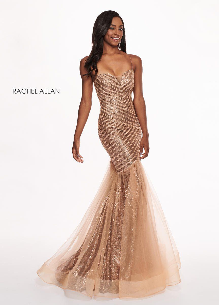 Style 6513 Rachel Allan Gold Size 14 Pageant Mermaid Dress on Queenly