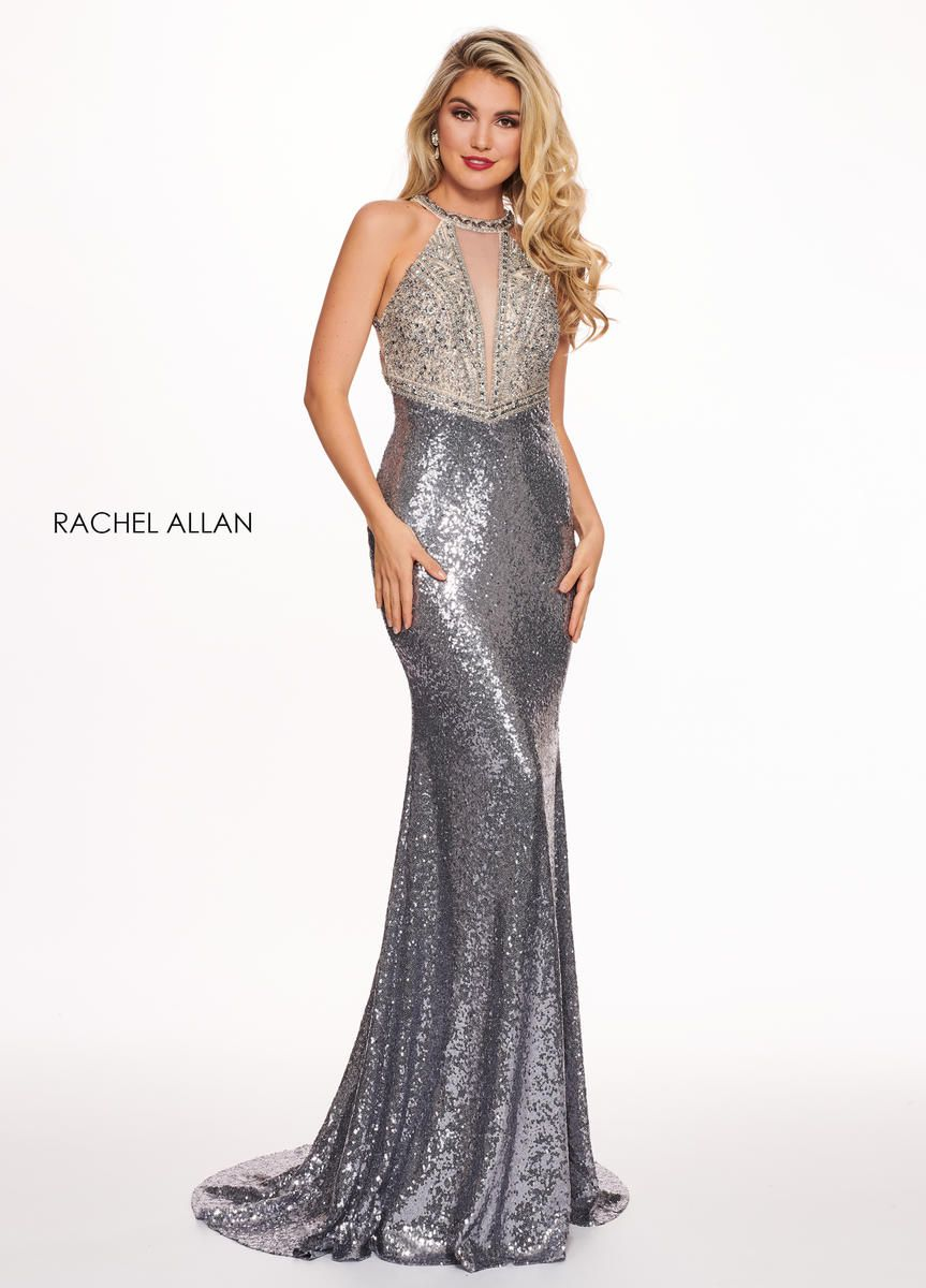 Style 6630 Rachel Allan Silver Size 6 V Neck Tall Height Halter Mermaid Dress on Queenly