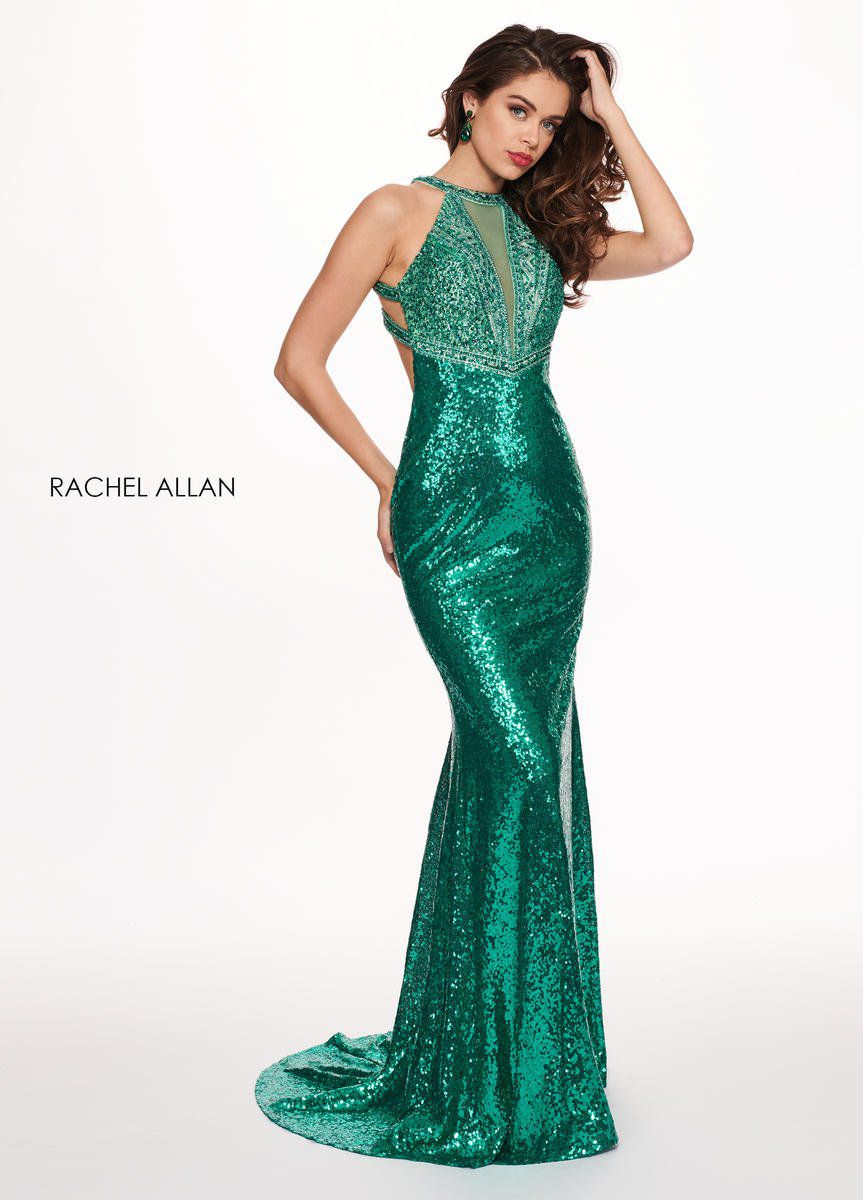 Style 6630 Rachel Allan Green Size 4 Pageant Tall Height Halter Mermaid Dress on Queenly