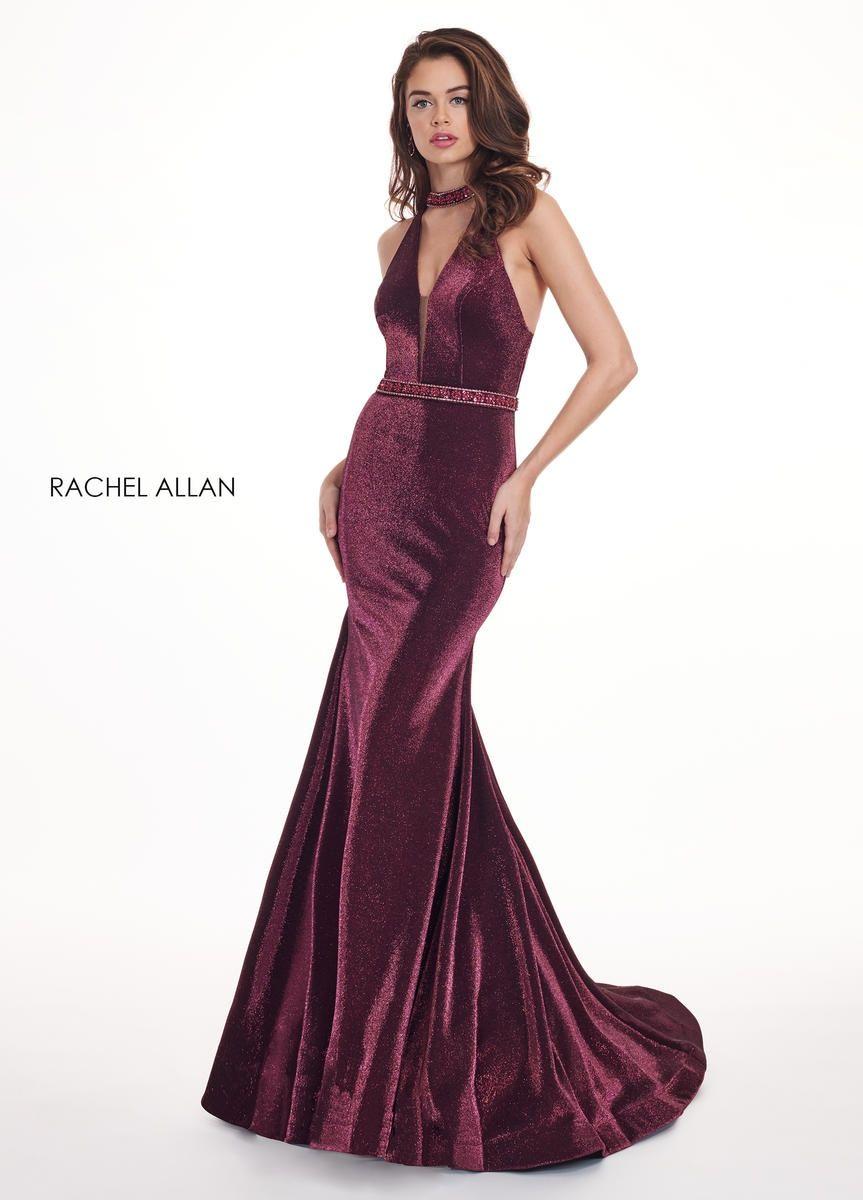 Style 6436 Rachel Allan Red Size 8 Magenta V Neck Tall Height Halter Mermaid Dress on Queenly
