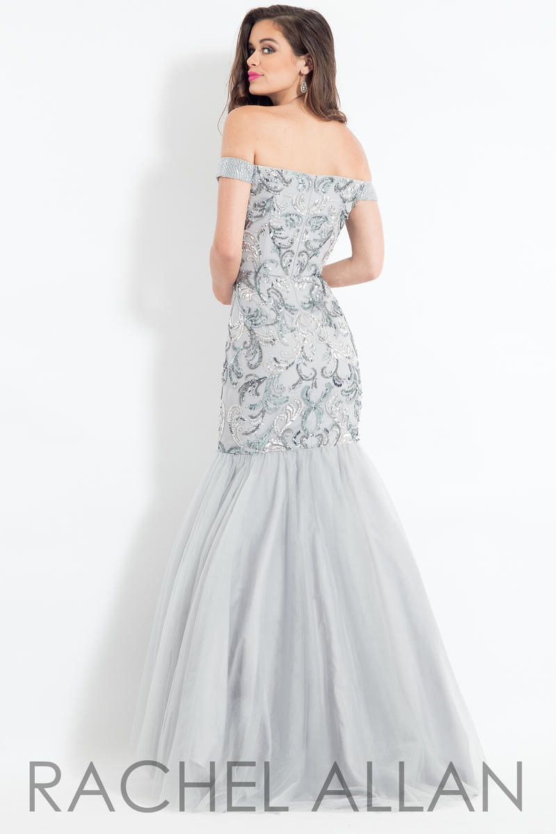 Style 6193 Rachel Allan Silver Size 4 Sweetheart Shiny Tall Height Mermaid Dress on Queenly