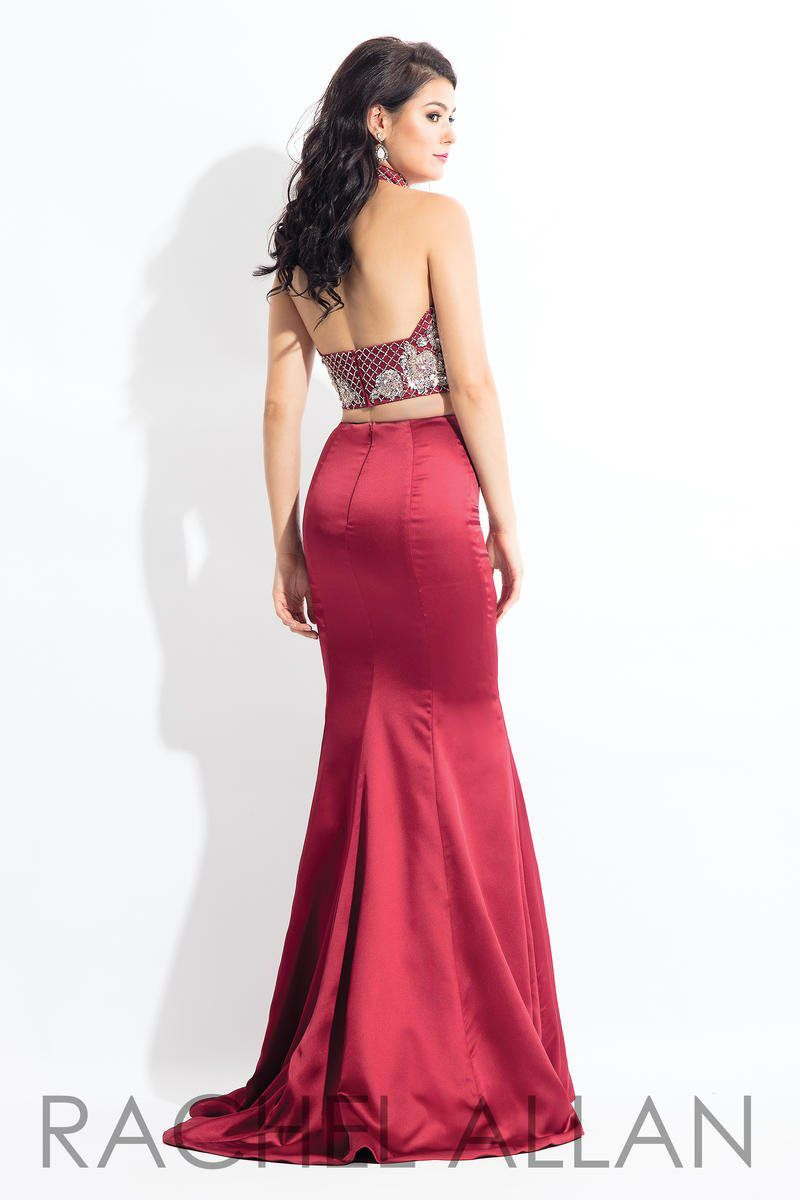 Style 6030 Rachel Allan Red Size 4 V Neck Tall Height Halter Mermaid Dress on Queenly