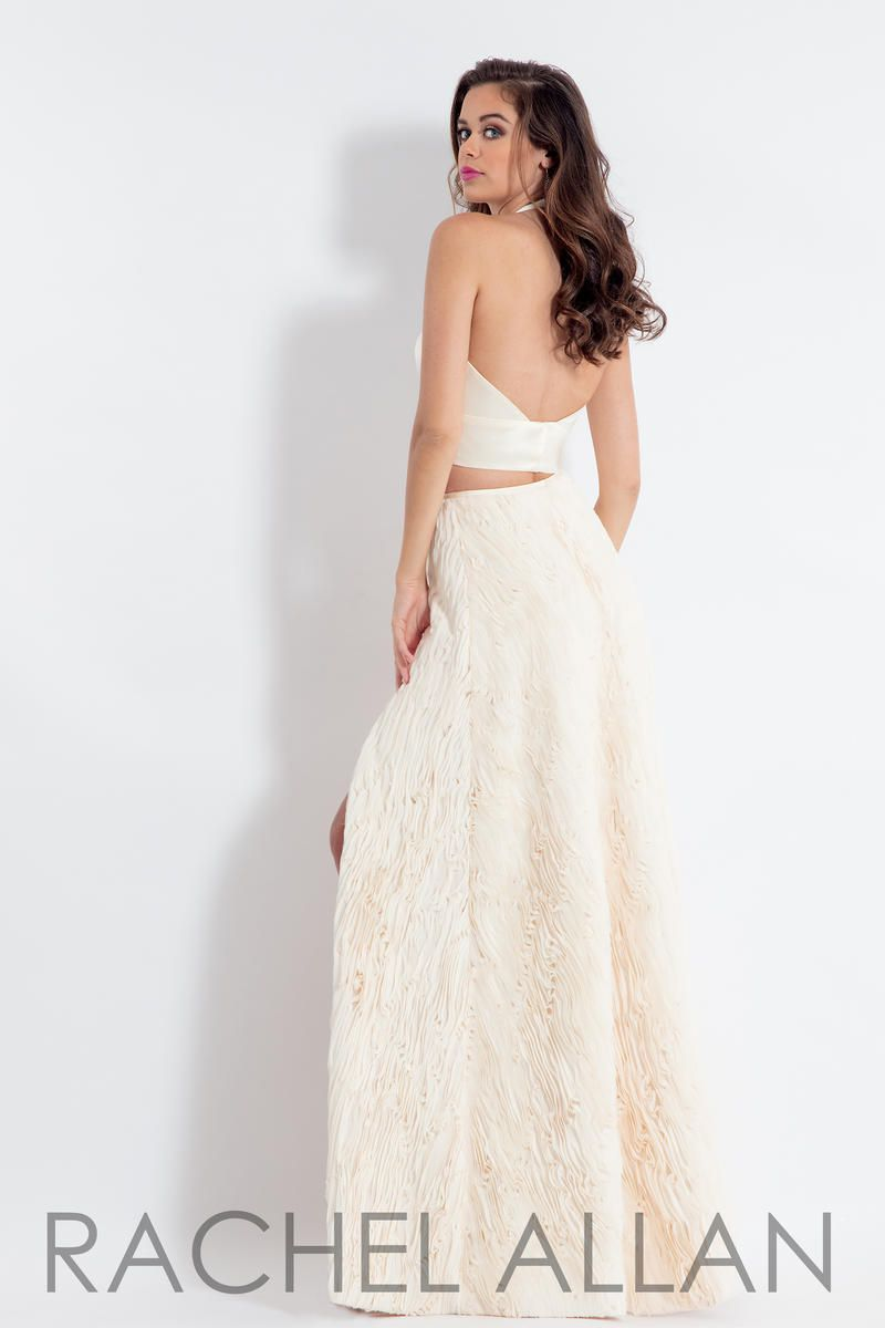 Style 6145 Rachel Allan White Size 2 Tulle Silk Tall Height Side slit Dress on Queenly