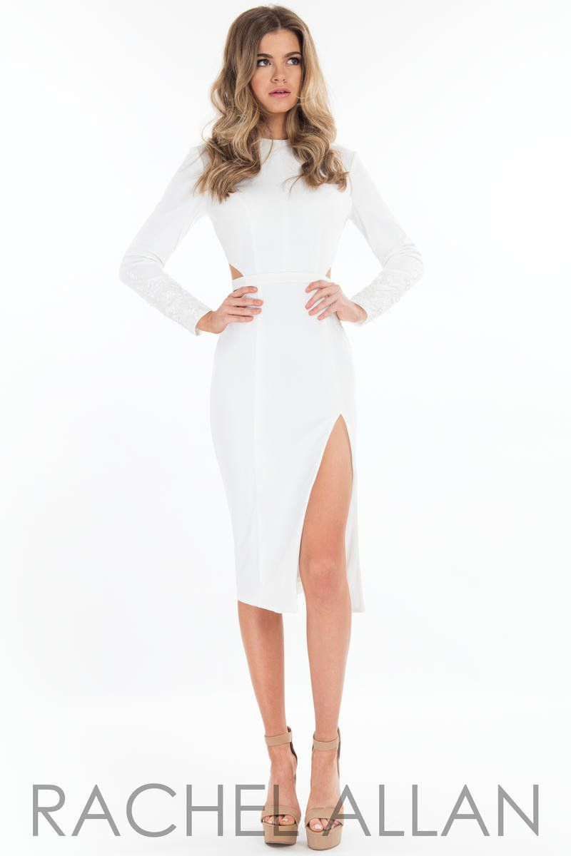 Style L1087 Rachel Allan White Size 4 Side Slit Tall Height Cocktail Dress on Queenly
