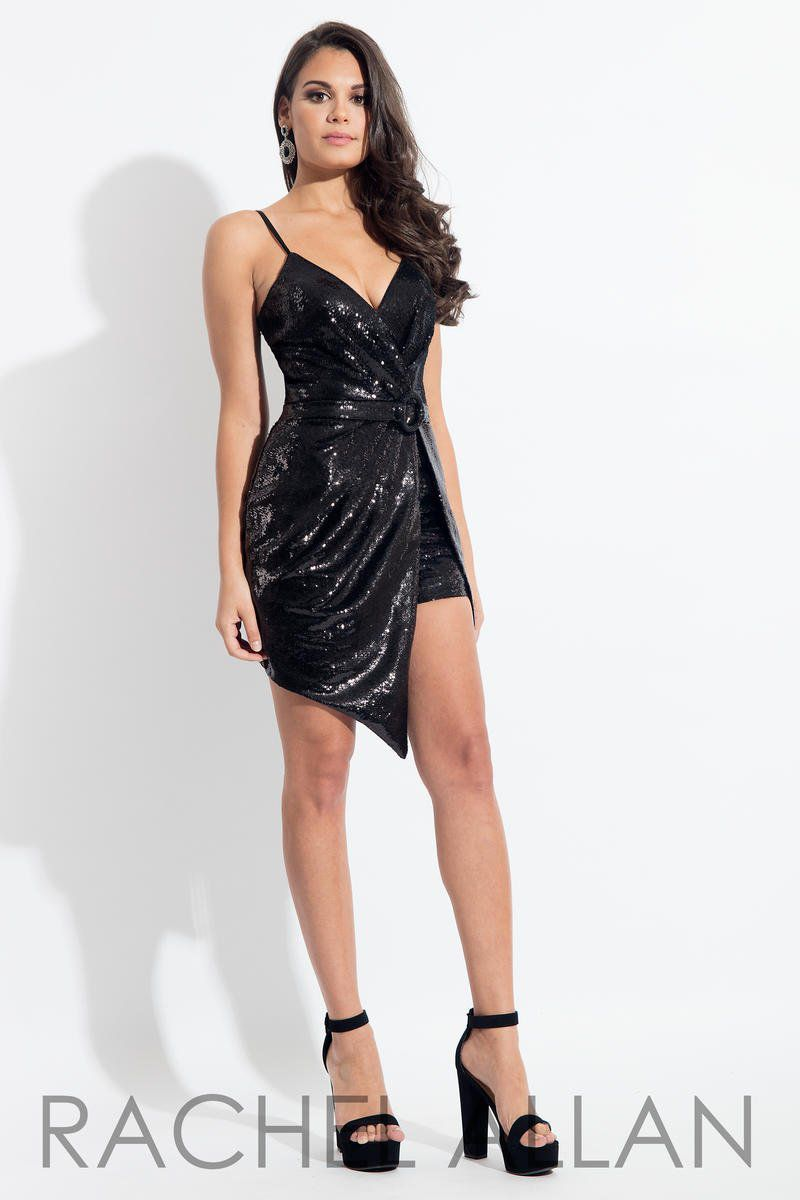 Style L1143 Rachel Allan Black Size 2 V Neck Tall Height Sequin Cocktail Dress on Queenly
