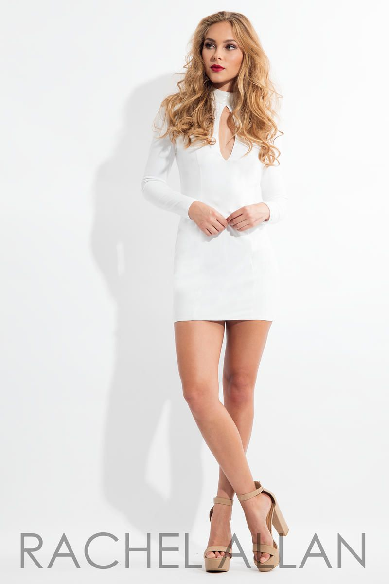 Style L1123 Rachel Allan White Size 4 Interview Jersey Tall Height Cocktail Dress on Queenly