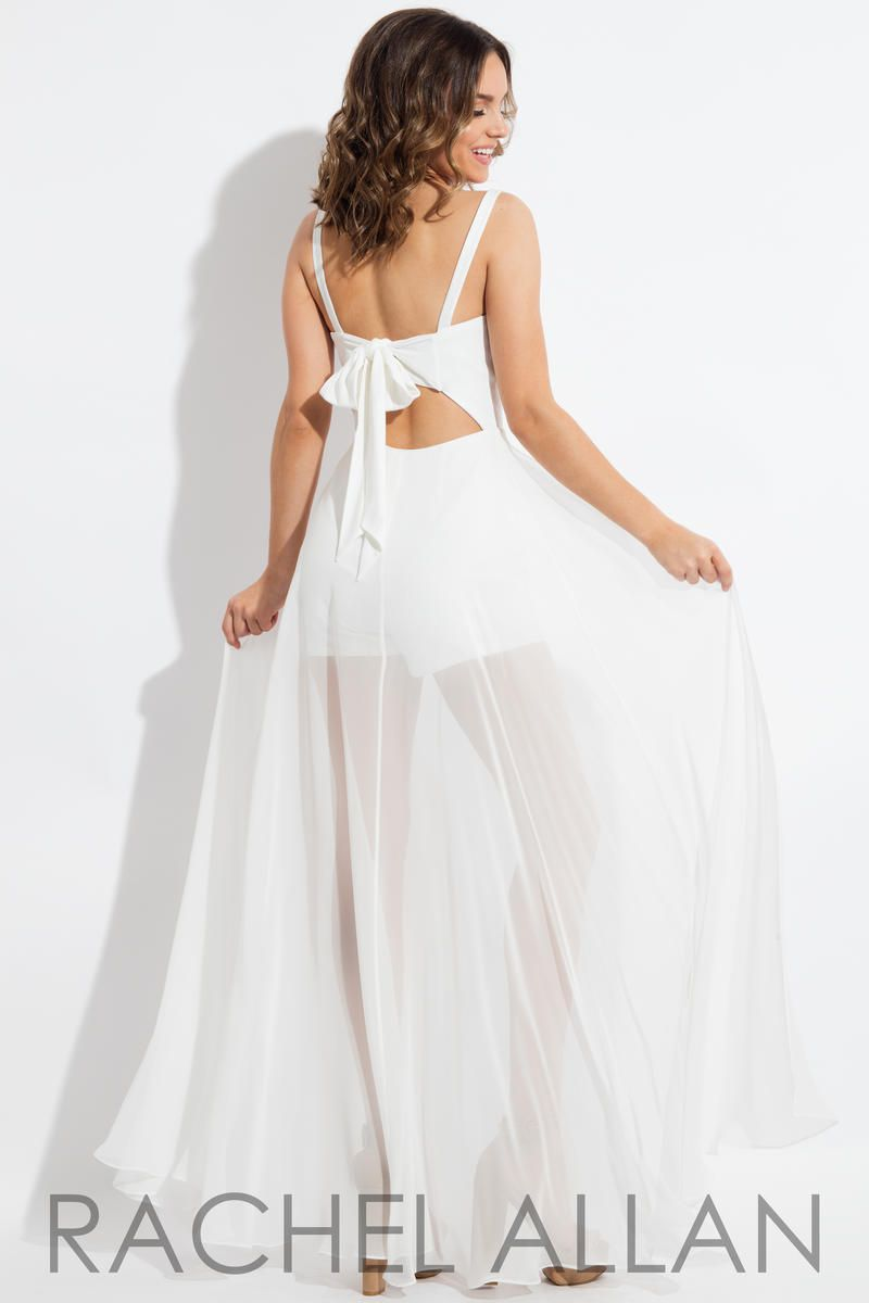 Style L1095 Rachel Allan White Size 0 Homecoming Tall Height Tulle Fun Fashion Jumpsuit Dress on Queenly