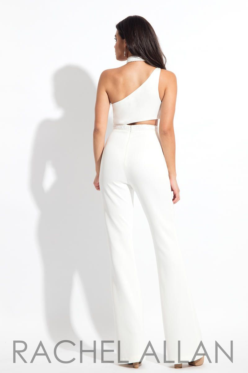 Style L1161 Rachel Allan White Size 4 Fun Fashion Tall Height One Shoulder Flare Jumpsuit Dress on Queenly