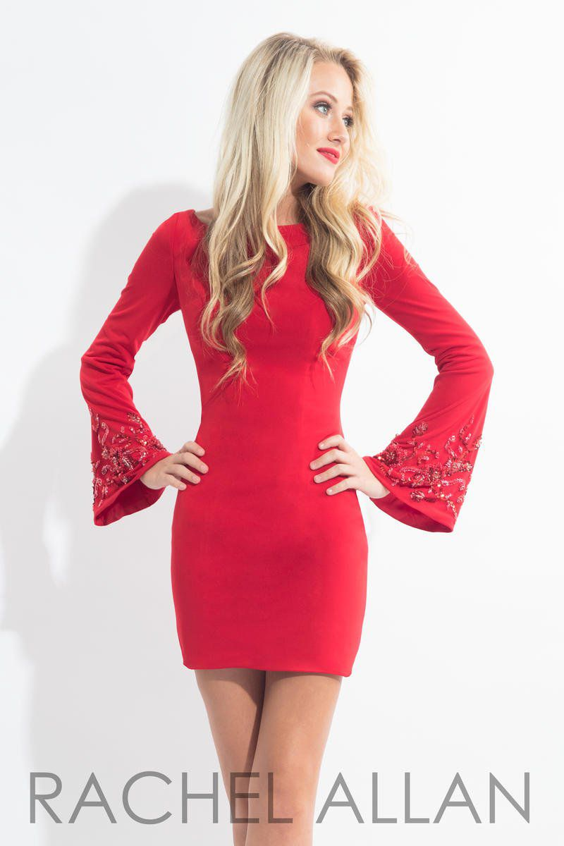 Style L1144 Rachel Allan Red Size 4 Sleeves Mini Jersey Bell Sleeves Cocktail Dress on Queenly