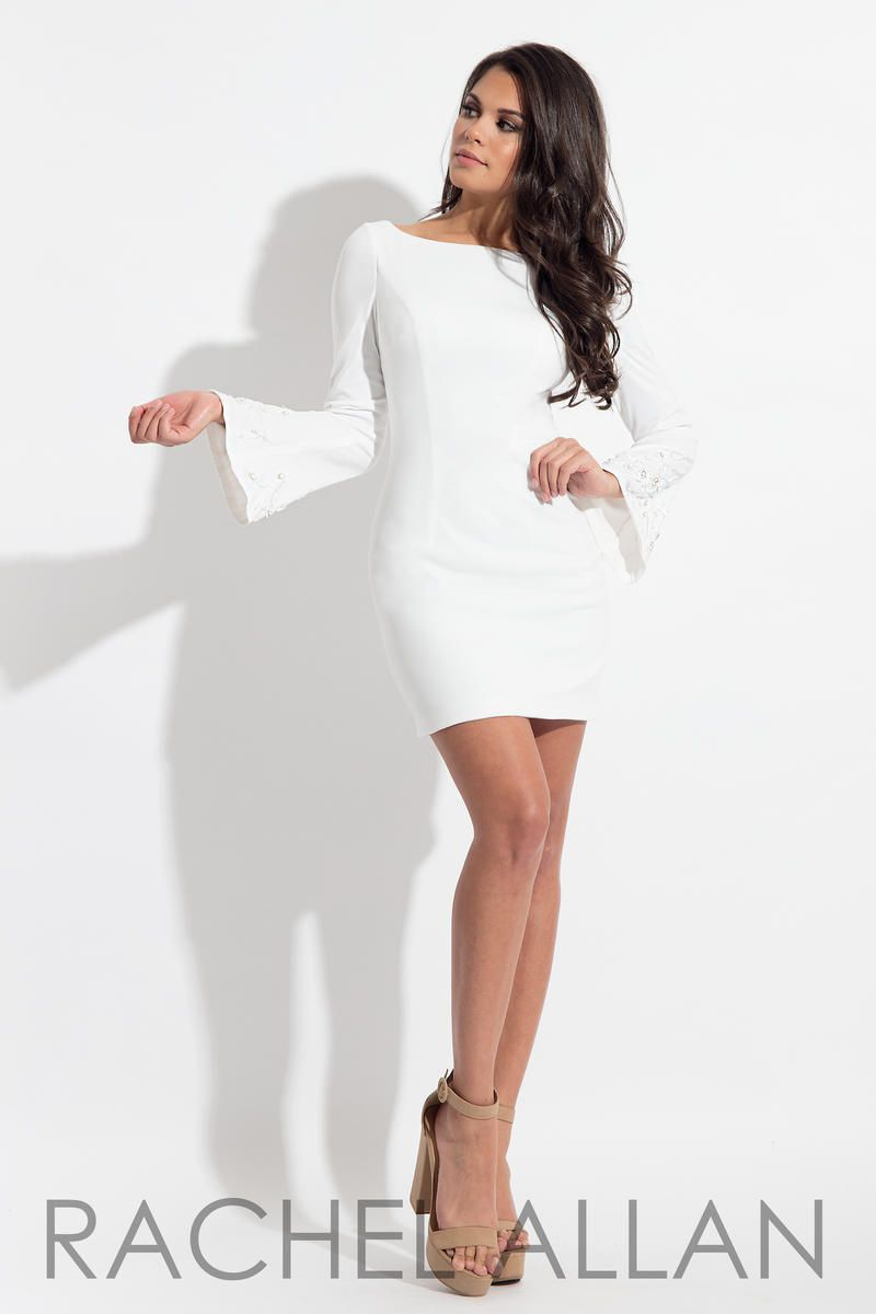 Style L1144 Rachel Allan White Size 6 Interview Jersey Tall Height Cocktail Dress on Queenly